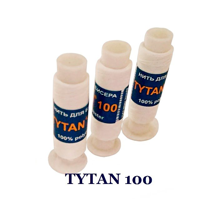 Нить для вышивки бисером Tytan №100 белая 200 метров