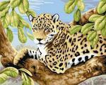 """Алмазная мозаика """"Леопард на ветвях"""""""