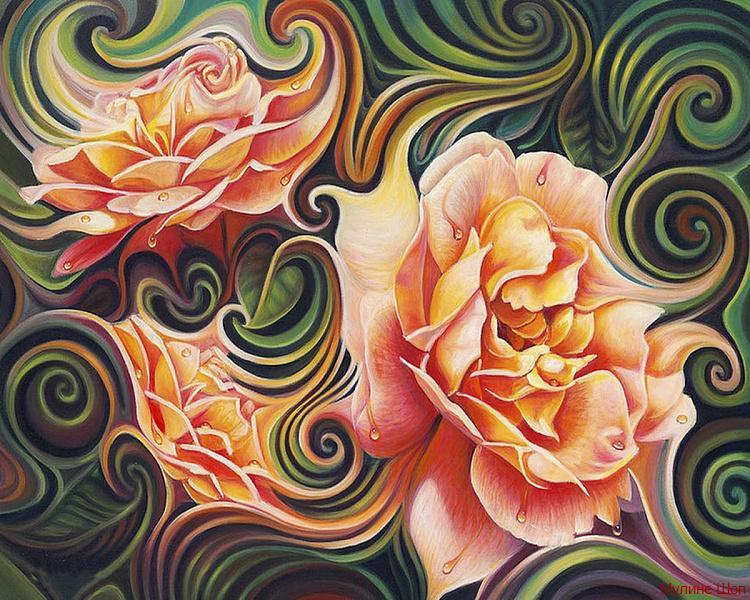 """Алмазная мозаика """"Розы в абстракции"""""""