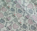 Ткань хлопок Чашки, 125г/м², 100% хлопок, цв.02 серый упаковка 150х300 см
