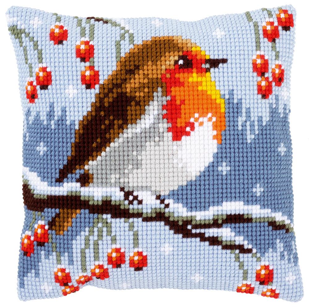 """Набор для вышивания Подушка """"Зимние малиновки"""""""