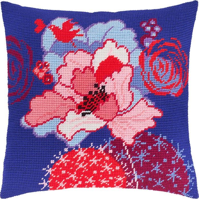 "Набор для вышивания Подушка ""Синий цветок"""