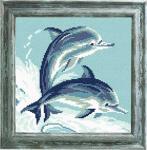 """Канва с рисунком """"Дельфины"""""""