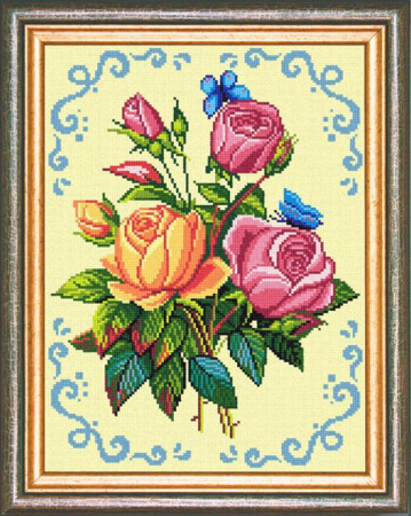 """Канва с рисунком """"Букет роз"""""""