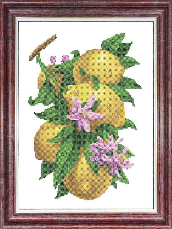 """Ткань с рисунком """"Ветка с лимонами"""""""
