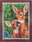 """Ткань с рисунком """"Мамы и их зверята. Пятнистые олени"""""""