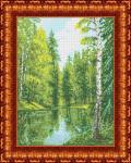 """Ткань с рисунком """"Озеро в лесу"""""""