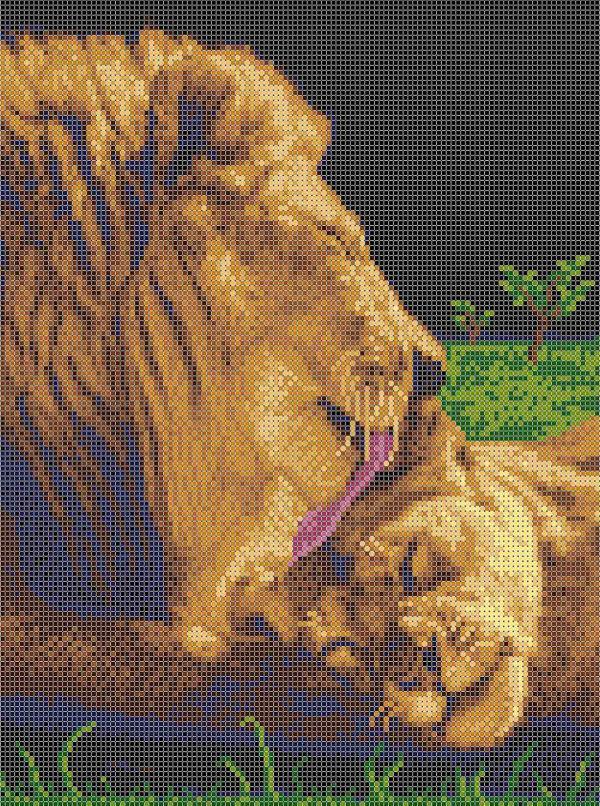 """Ткань с рисунком """"Забота льва"""""""