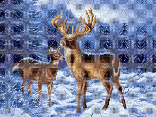 """Ткань с рисунком """"Олени в зимнем лесу"""""""