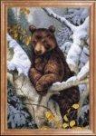 """Ткань с рисунком """"Медведь на дереве"""""""