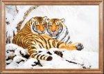 """Ткань с рисунком """"Тигры зимой"""""""