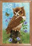 """Ткань с рисунком """"Сова с бабочкой"""""""