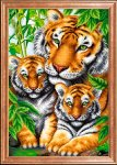 """Ткань с рисунком """"Тигрица с тигрятами"""""""