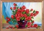 """Ткань с рисунком """"Алые розы"""""""
