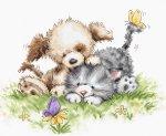 """Набор для вышивания """"Щенок и котёнок с бабочкой"""""""