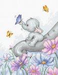 """Набор для вышивания """"Слон с бабочкой"""""""