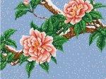 """Канва с рисунком """"Цветы под снегом"""""""