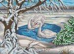 """Канва с рисунком """"Лебеди на пруду"""""""