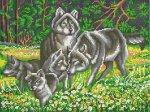 """Канва с рисунком """"Волчья семья"""""""