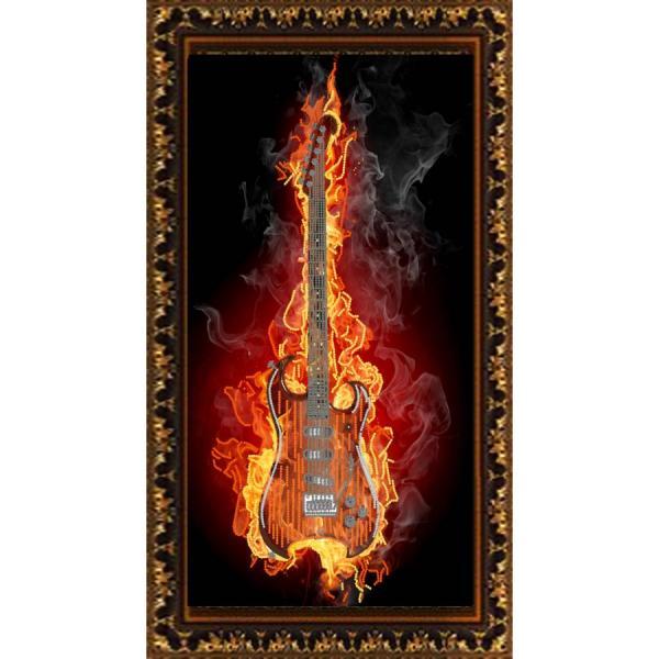"""Ткань с рисунком """"Гитара в огне"""""""