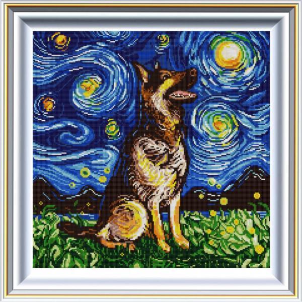 """Ткань с рисунком """"Звездная ночь и Мухтар"""""""