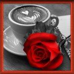 """Алмазная мозаика """"Роза и кофе"""""""