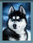 "Алмазная мозаика ""Хаски в снегу"""