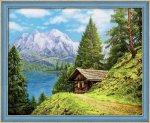 """Алмазная мозаика """"Домик в горах"""""""