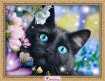"""Алмазная мозаика """"Черный кот в цветах"""""""