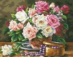 """Алмазная мозаика """"Розовый букет и бусины"""""""