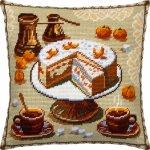 """Набор для вышивания Подушка """"Кофе и мандариновый торт"""""""